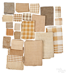 Group of mostly early brown and white homespun