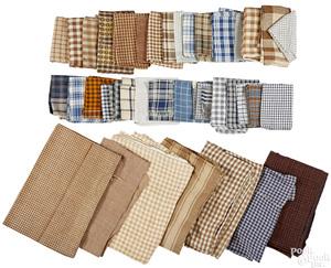 Group of brown and white homespun fabric