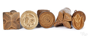 Five turned and carved miniature butterprints