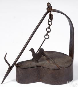Wrought iron fat lamp
