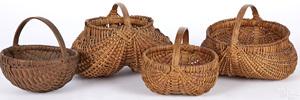 Four small splint oak baskets