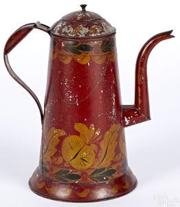 Pennsylvania red toleware coffee pot