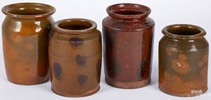 Four Pennsylvania redware crocks