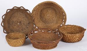 Five rye straw baskets