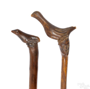 Schtockschnitzler Simmons, two carved canes