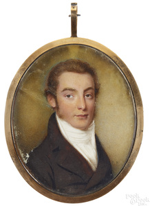 Watercolor on ivory portrait of a gentleman