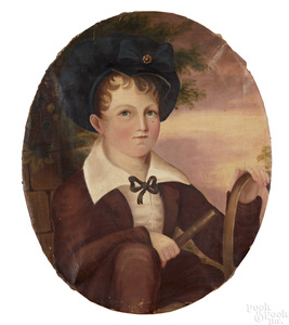 Oil on canvas portrait of a boy with hoop