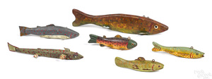 Six carved and painted fish decoys