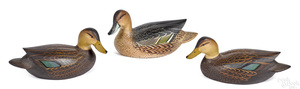 Three Ward Brothers carved and painted duck decoy
