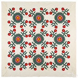 Pennsylvania red, green and yellow appliqué quilt