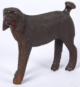 Carved pine dog, attributed to Aaron Mountz