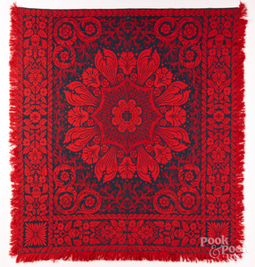 Red and blue Jacquard coverlet