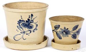 Two Pennsylvania stoneware flowerpots