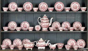 Red Staffordshire Sower tea and coffee service