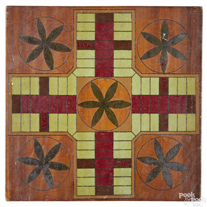 Painted Parcheesi and checkers gameboard