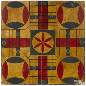Painted pine Parcheesi gameboard