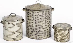 Three smoke decorated tin bins