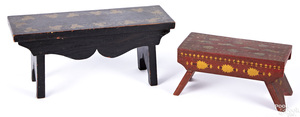 Two painted and stencil decorated foot stools