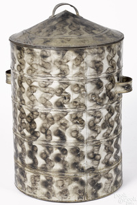 Large smoke decorated tin canister