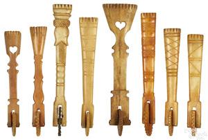 Eight Pennsylvania carved bone pie crimpers
