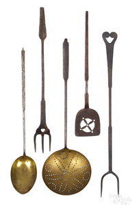 Five Pennsylvania wrought iron utensils