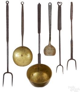 Six Pennsylvania wrought iron and brass utensils