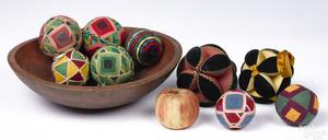 Ten Pennsylvania sewing balls and a bowl