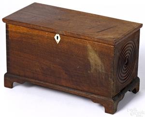 Miniature Pennsylvania walnut blanket chest