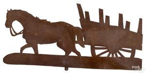 Sheet iron horse and cart weathervane