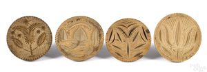 Four turned and carved butterprints