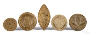 Five carved butterprints