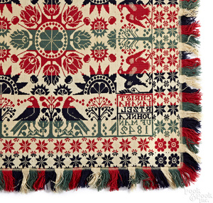 Pennsylvania blue, green and red Jacquard coverlet