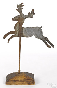 Sheet iron leaping stag weathervane