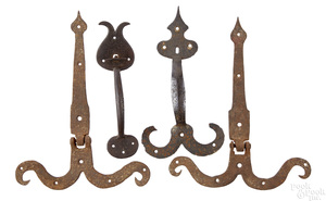 Two wrought iron thumb latches, etc.