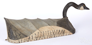 Canvas covered swimming Canada goose decoy