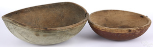 Two turned and painted wood bowls