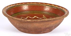 Pennsylvania Moravian redware bowl