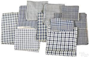 Blue and white homespun fabric