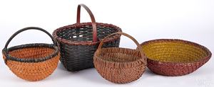 Four painted baskets