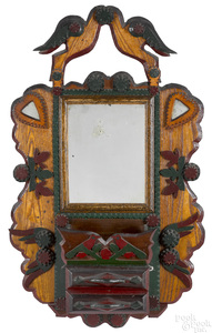 Painted tramp art mirrored comb case