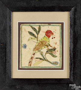 Two Pennsylvania watercolor fraktur of birds