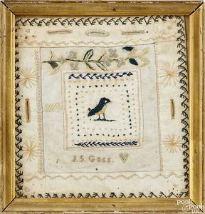 Small silk on linen sewing sampler
