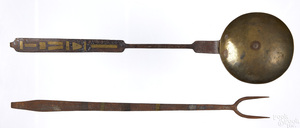 Pennsylvania wrought iron flesh fork and ladle