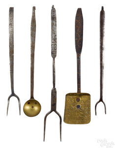 Five miniature wrought iron and brass utensils