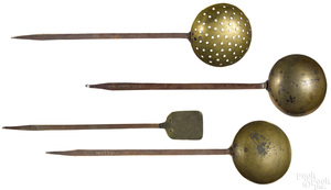 Four Pennsylvania wrought iron and brass utensils