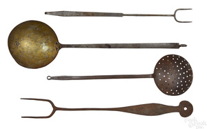Four Pennsylvania wrought iron utensils