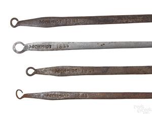 Four Berks County wrought iron utensils