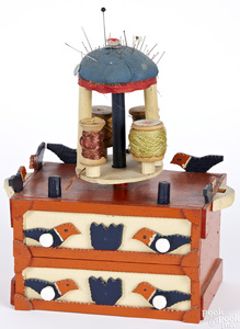 Painted tramp art sewing box