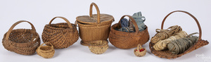 Collection of miniature baskets and loom tape