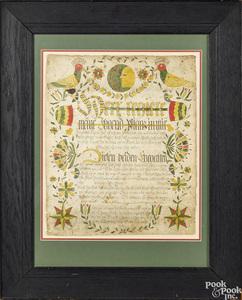 Northampton County fraktur birth certificate